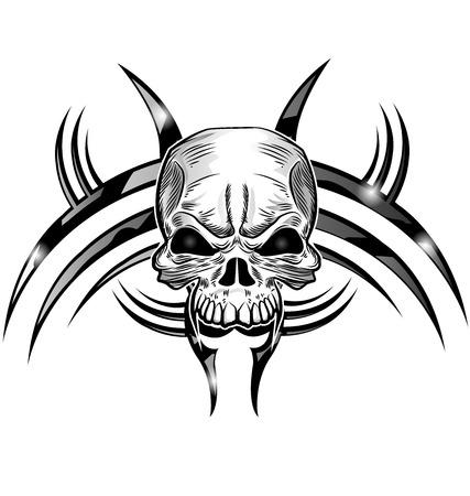 morto: desenho tatuagem de caveira isolar em branco Ilustração