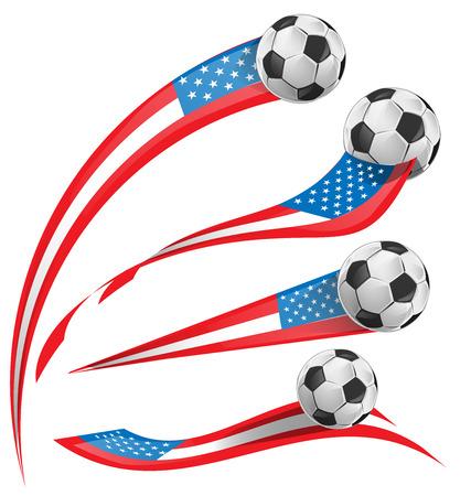 u.s. flag: USA flag set whit soccer ball Illustration