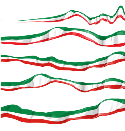 italian flag set isolated Illustration