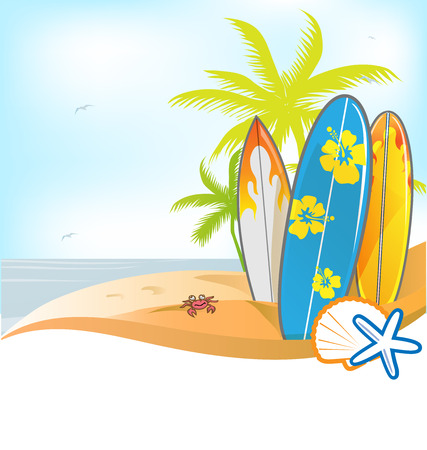 summer background with surboard on background Vector