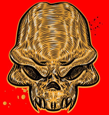 dirty t shirt: horror skull on red background