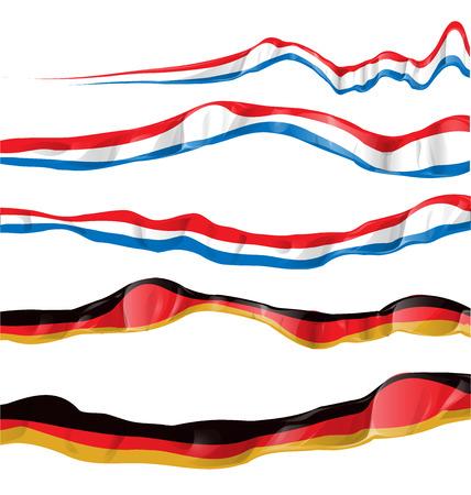 germanic: france and germany flag set on white background