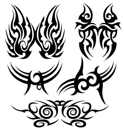 symbole de tatoo ensemble isolé sur fond blanc