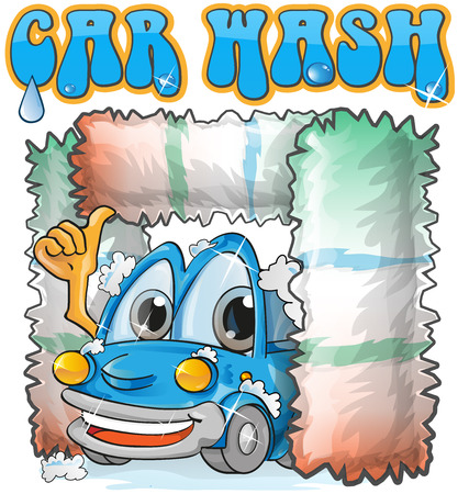 car wash cartoon on white background Vector