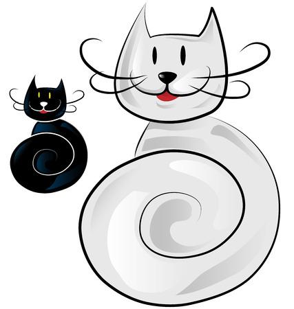 happy cat: gl�ckliche Katze Cartoon isoliert auf wei�
