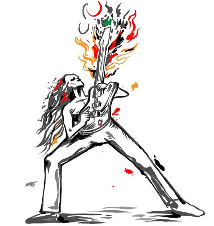 rocker gitarist bassolo Stock Illustratie
