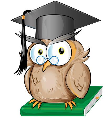 Wise owl cartoon isolated