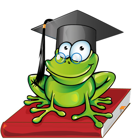 Wise frog  cartoon on book Vector