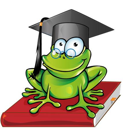 scholars: Wise frog  cartoon on book Illustration