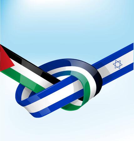 palestine: palestine and israel ribbon flag