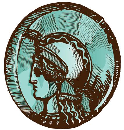 antigua grecia: griega vieja moneda aisladas sobre fondo blanco Vectores