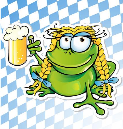 面白いカエル漫画ビール ガラス