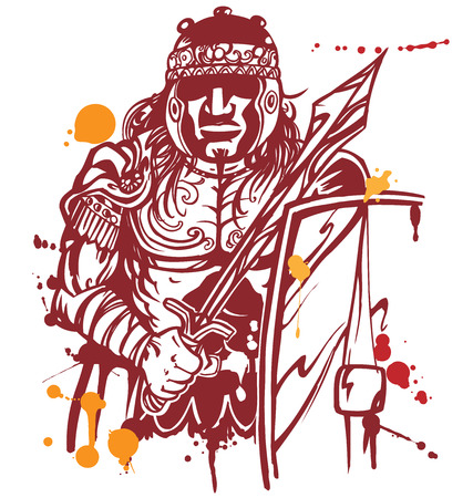 warlike: roman warrior on white background