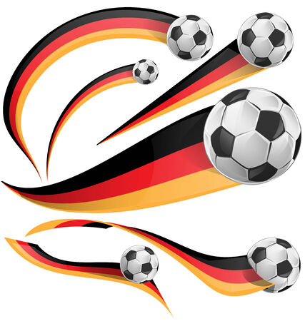 festivities: germany flag with soccer ball on white background