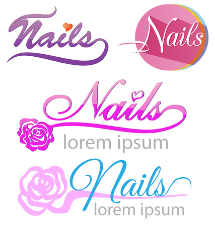 nails saloon symbol set on white background Vector