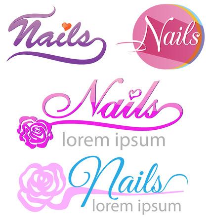 finger nails: nails saloon symbol set on white background