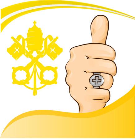 basilica: pope thumb-up symbol Illustration
