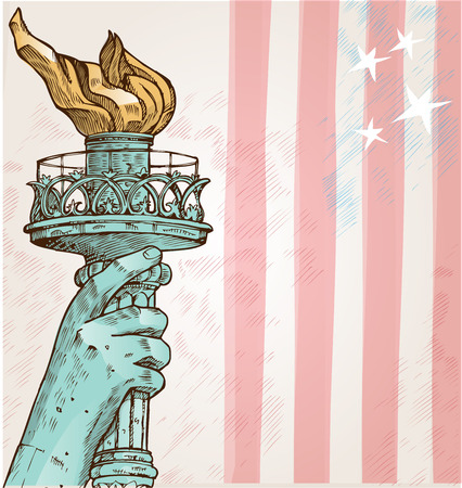old new york: statue of liberty with torch on american flag