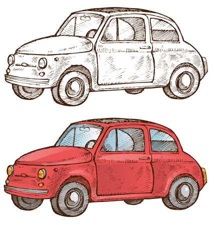 old italian car on ehite background Vector