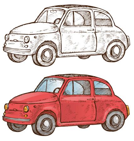 oude Italiaanse auto op ehite achtergrond Stock Illustratie