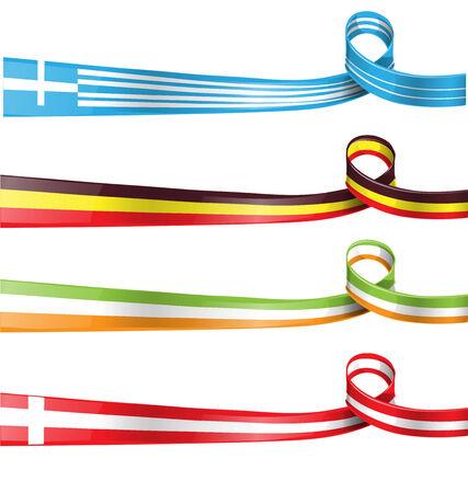 flagged:    Belgium,greek, Switzerland and Ireland flag ribbon set
