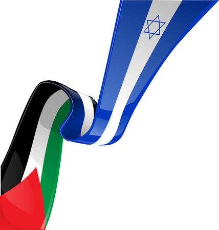 Israel and palestine flag on white background Vector