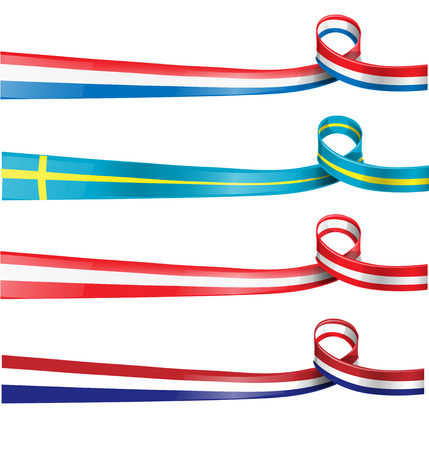 french symbol:  european flag ribbon flag set ioslated