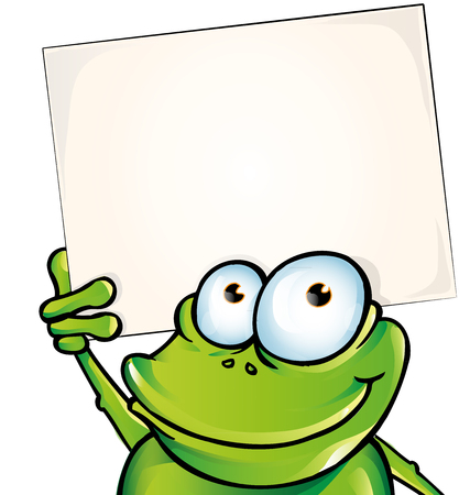 newt: funny frog with signboard Illustration