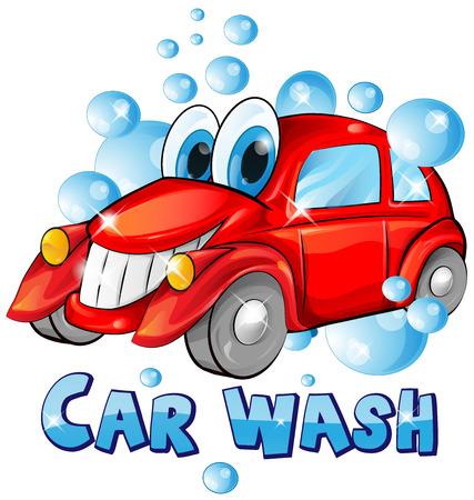 carwash: dibujos animados de lavado de coches aislados en el fondo blanco Vectores