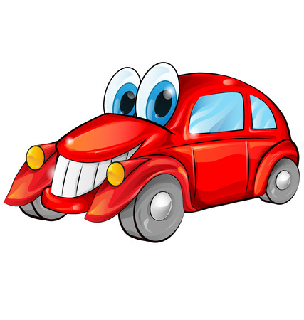 happy car cartoon isolated on white background