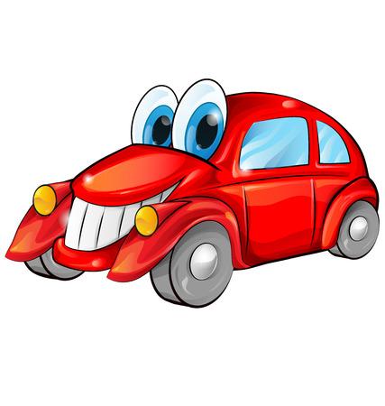 caricatura: feliz de dibujos animados coche aislado en el fondo blanco