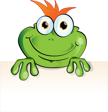 newt: funny frog cartoon  with signboard