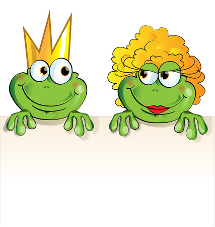 couple frog cartoon isolated Vector