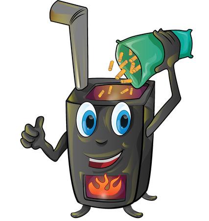 pellet stove cartoon isolated on white background Illustration
