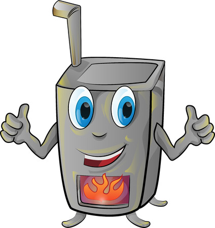stove cartoon isolated on white  background