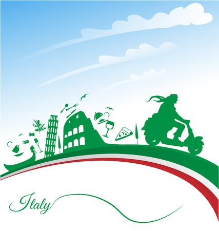 italien flagge: Italienisch Urlaub Hintergrund mit Flagge
