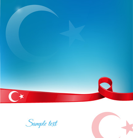 turkish flag: turkey ribbon flag on background