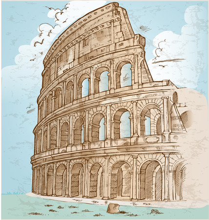 colosseum color hand draw background Vector