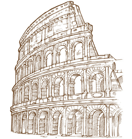 colosseum hand draw isolated on white background Vectores