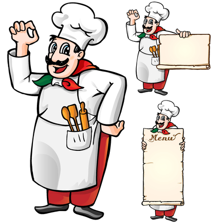 italian chef set isolated on white background Vector