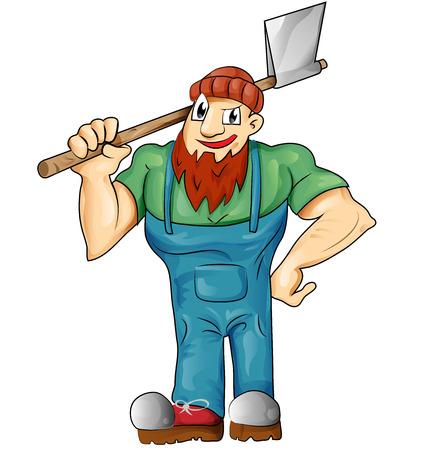 lumberman: lumberjack cartoon isolated on white background Illustration