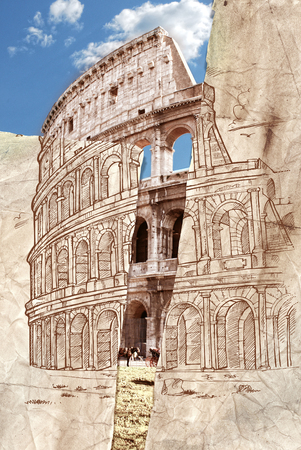 colosseo: colosseum hand draw collage background Stock Photo
