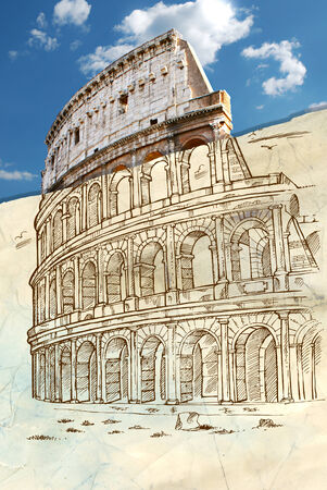 colosseo: colosseum hand draw background
