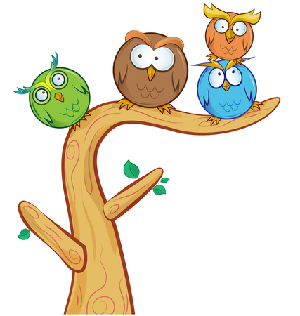 funny owl group cartoon on tree isolated Vector
