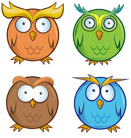 owl cartoon set isolated on white background Vector