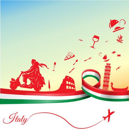 フラグ付きのイタリアの休日の背景  イラスト・ベクター素材
