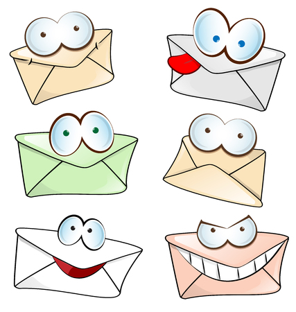 old envelope: funny mail cartoon set isolated on white