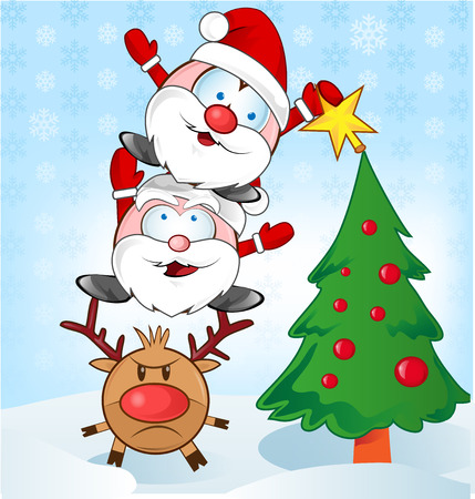 santa claus whit reindeer cartoon on background Vector
