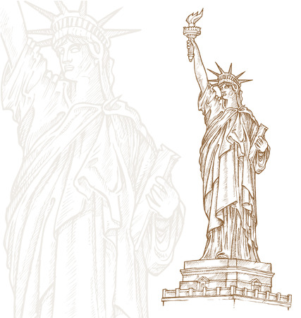 old new york: statue of liberty  hand draw on white background