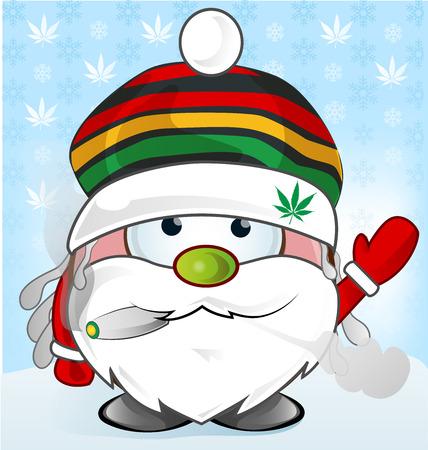 dreads: jamaican Santa Claus cartoon on background